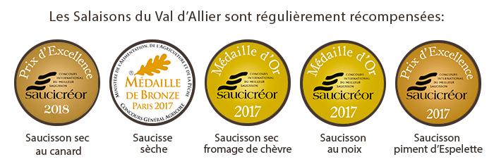 Les Salaisons du Val d'Allier sont régulièrement récompensées